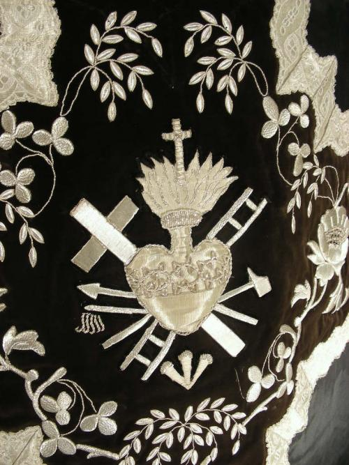 Antique Chasuble Black Velvet and silk Silver Embroidered.