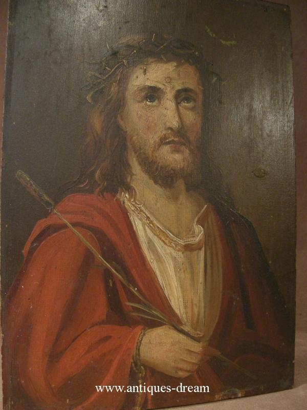 Ecce Homo.Oil canvas painting .Christ the reed.