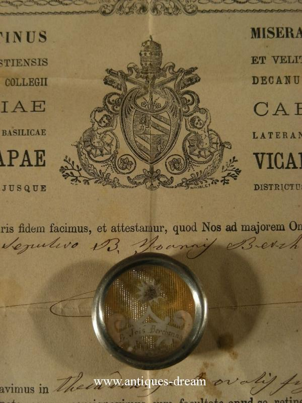 Relic of Saint John Berchmans.With Document 1876