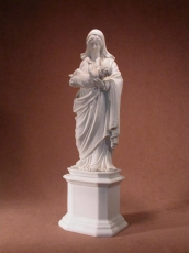Antique Bisque Porcelain Statue of Virgin Mary and Child Jesus