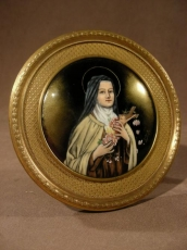 Charming and rare enamelled St Therese of Lisieux.