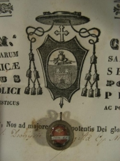 Reliquary. Ex Oss. St Dionysius.Ev. M. Doct.  With Document.1846.