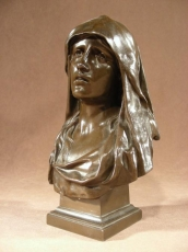 Bronze Virgin Marie Signed by  Marioton Eug 1854-1925