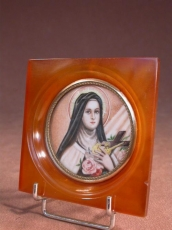 Rare Miniature Painting on Ivory St Therese of Lisieux 1930