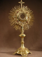 Monstrance, golden Brass, with stones colored 19thC.French.