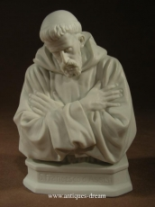 Antique Bisque Porcelain Statue St Francois D Assise