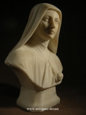 Antique carved Alabaster St Therese  A Jesus infante