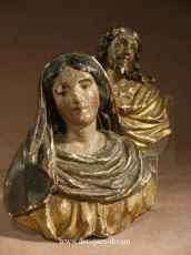 Carved Wood Christ and Virgin 18 thC