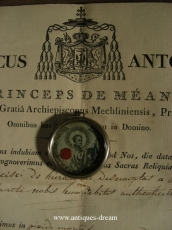 Relic EX Linteo  St Francisi De Hieronimo .With Document Authentique 1819