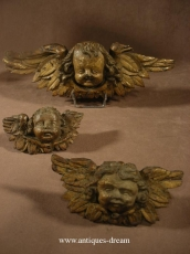 Set 3  Putti Carved wood,  Cherubs Angels. French 18 thC.