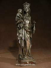 Silvered Bronze Virgin Marie and Child